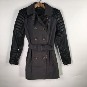 NWOT Trench Coat Grey Black Moto Style Small